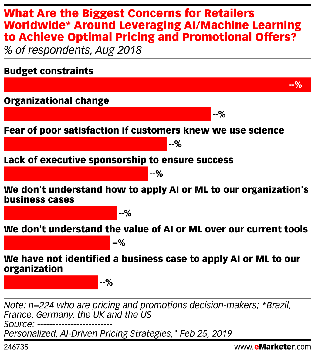 What Are the Biggest Concerns for Retailers Worldwide* Around Leveraging AI/Machine Learning to Achieve Optimal Pricing and Promotional Offers? (% of respondents, Aug 2018)